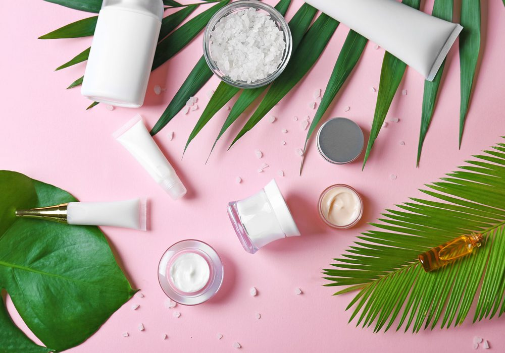 Skin care products on a colorful background