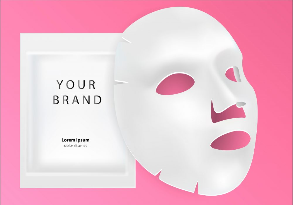 Sheet mask with private label brand packaging
